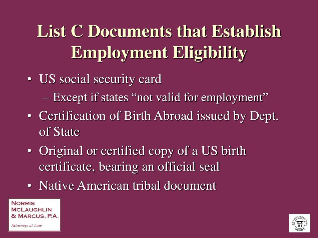 List C Documents that Establish Employment Eligibility