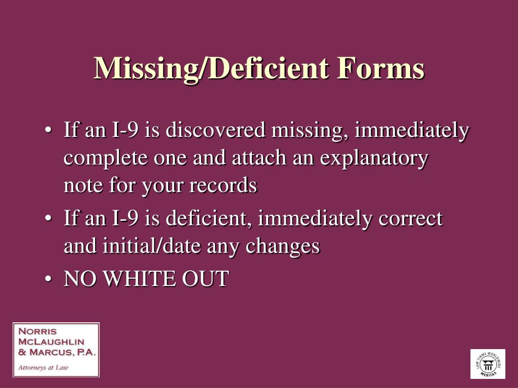 Missing/Deficient Forms