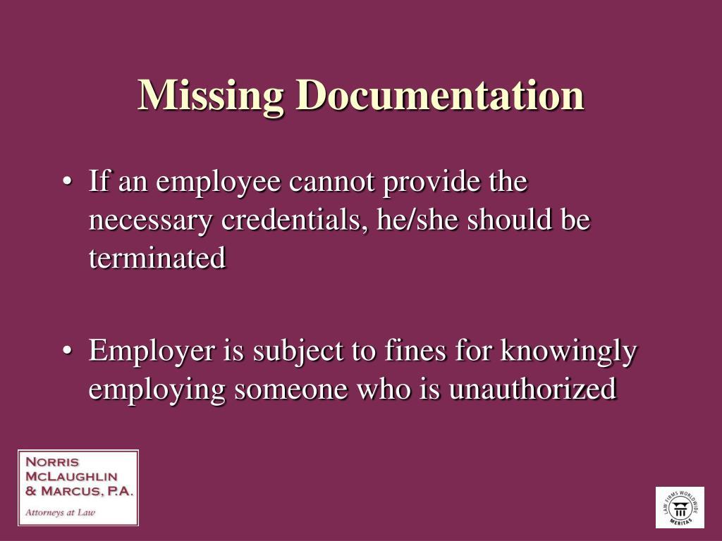 Missing Documentation