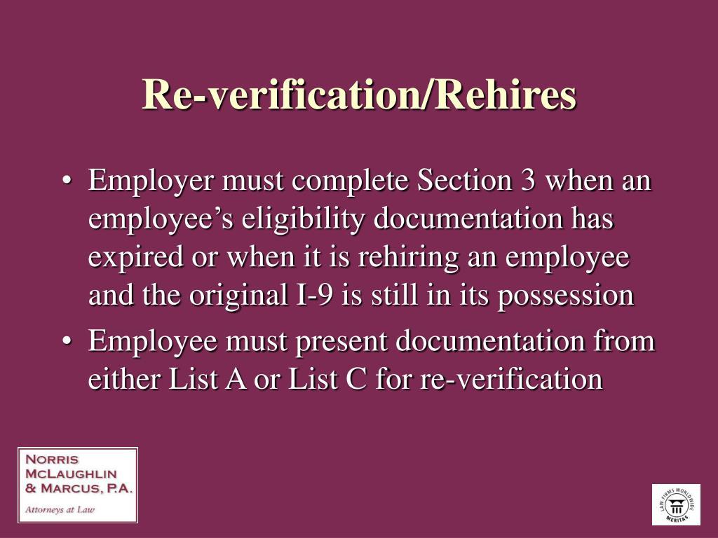 Re-verification/Rehires