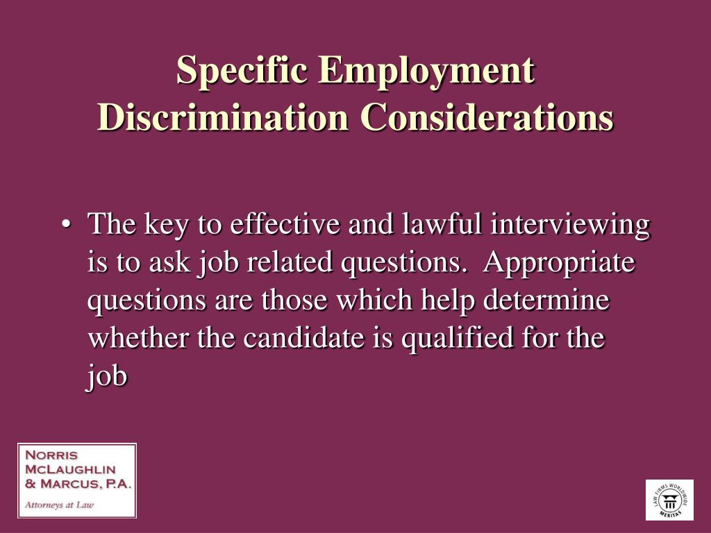Specific Employment Discrimination Considerations