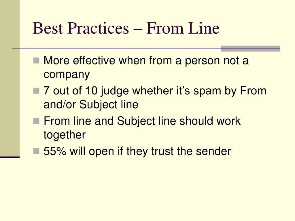 Best Practices – From Line