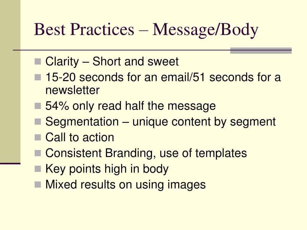 Best Practices – Message/Body