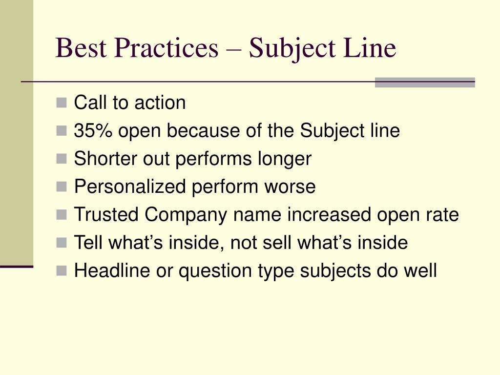 Best Practices – Subject Line