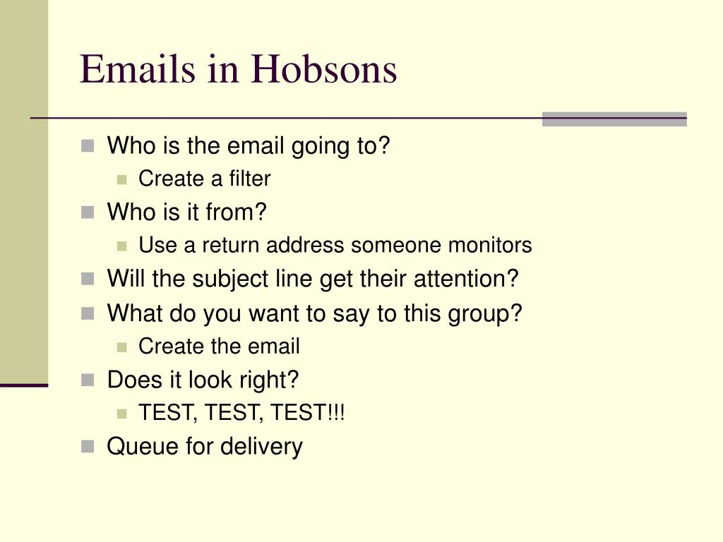 Emails in Hobsons