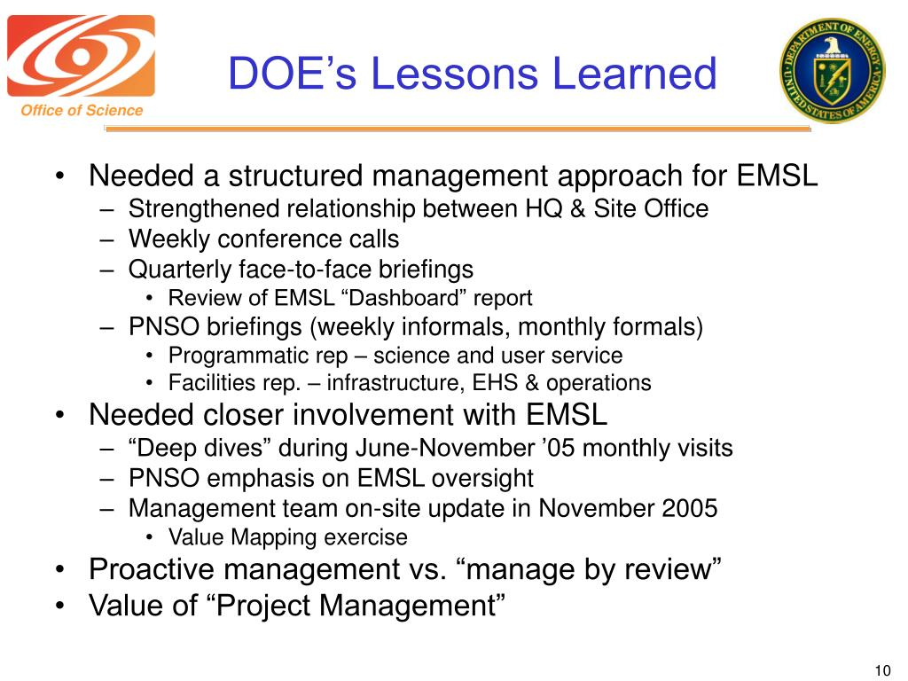DOE's Lessons Learned
