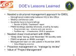 doe s lessons learned