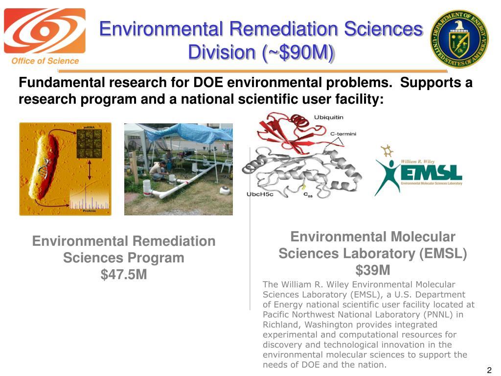 Environmental Remediation Sciences Division (~$90M)