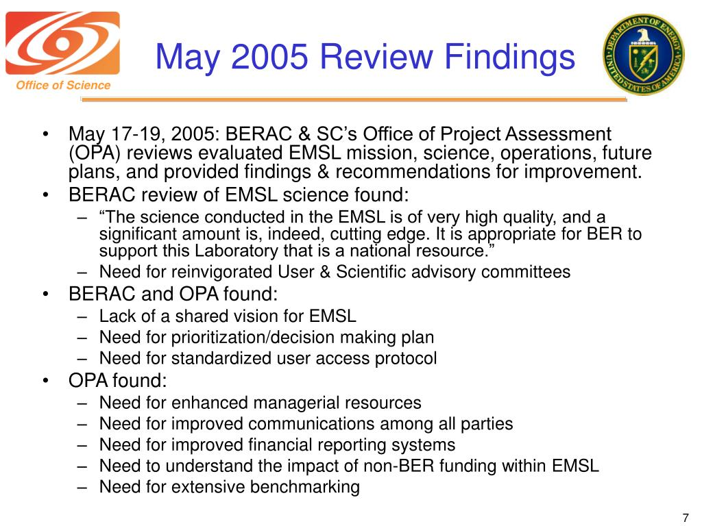 May 2005 Review Findings