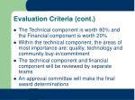 evaluation criteria cont
