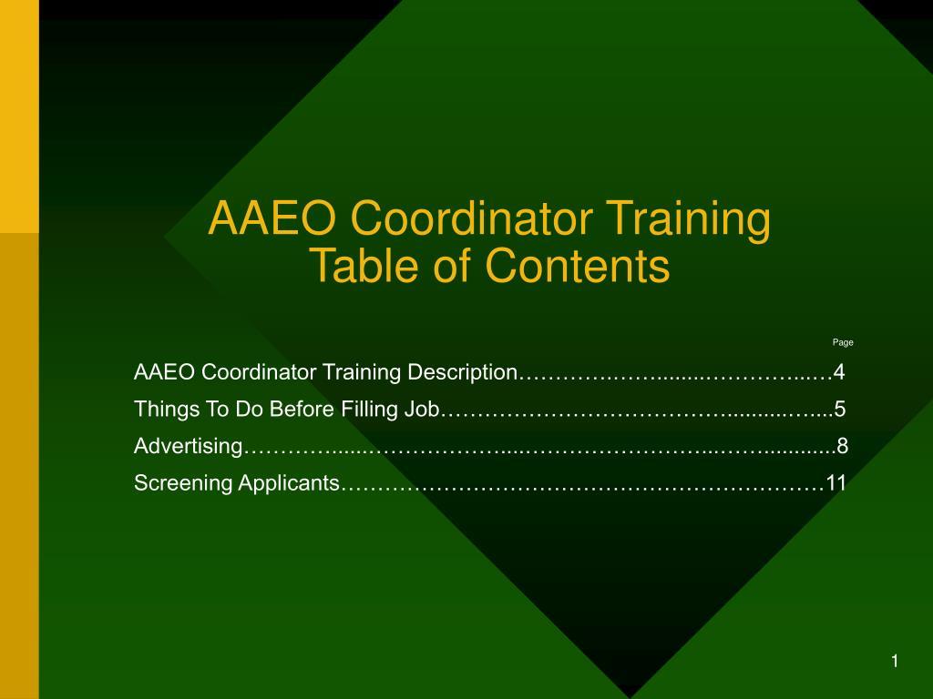 aaeo coordinator training table of contents