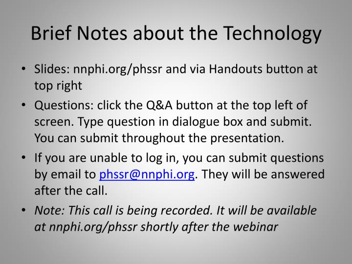 Brief notes about the technology