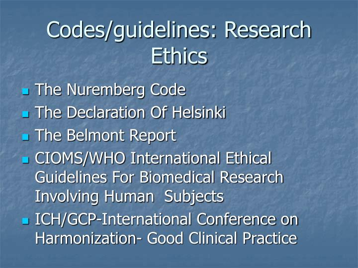 Codes guidelines research ethics