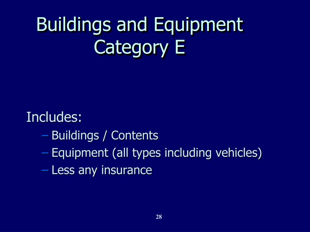 Buildings and Equipment Category E