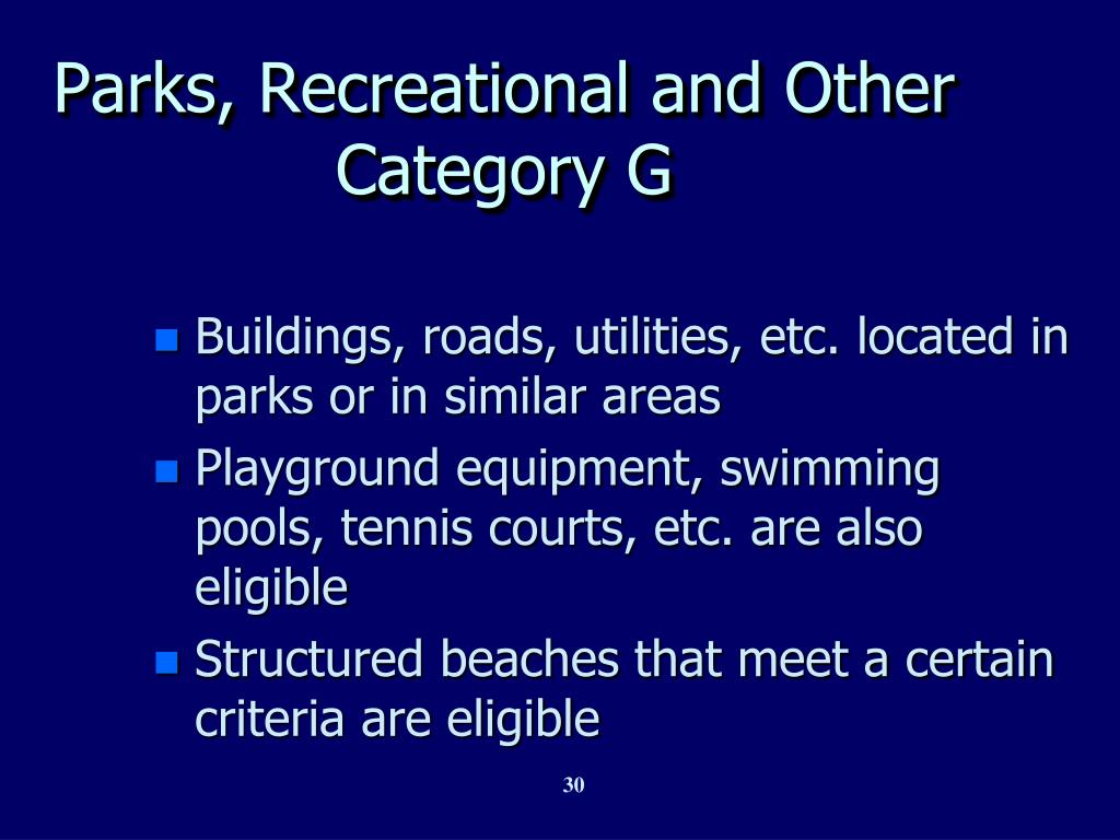 Parks, Recreational and Other  Category G