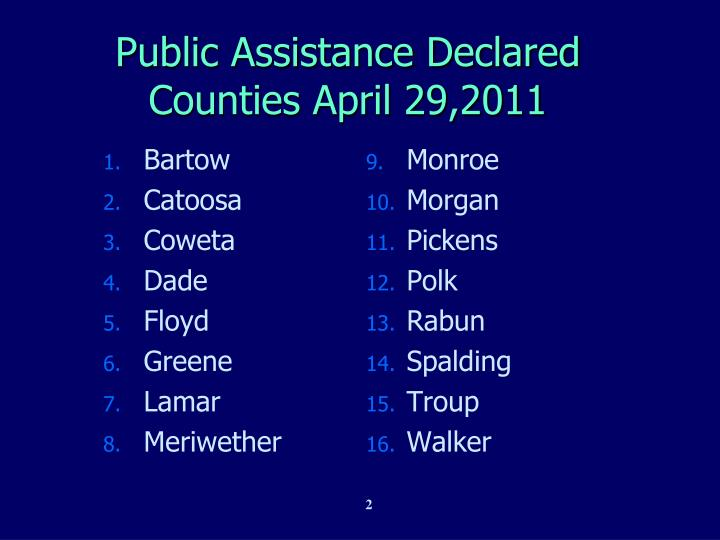 Public assistance declared counties april 29 2011