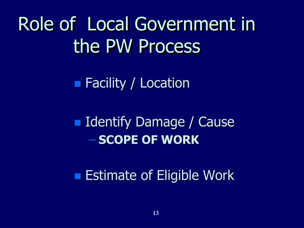 Role of  Local Government in the PW Process