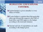 budgeting and expense control