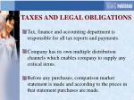 taxes and legal obligations