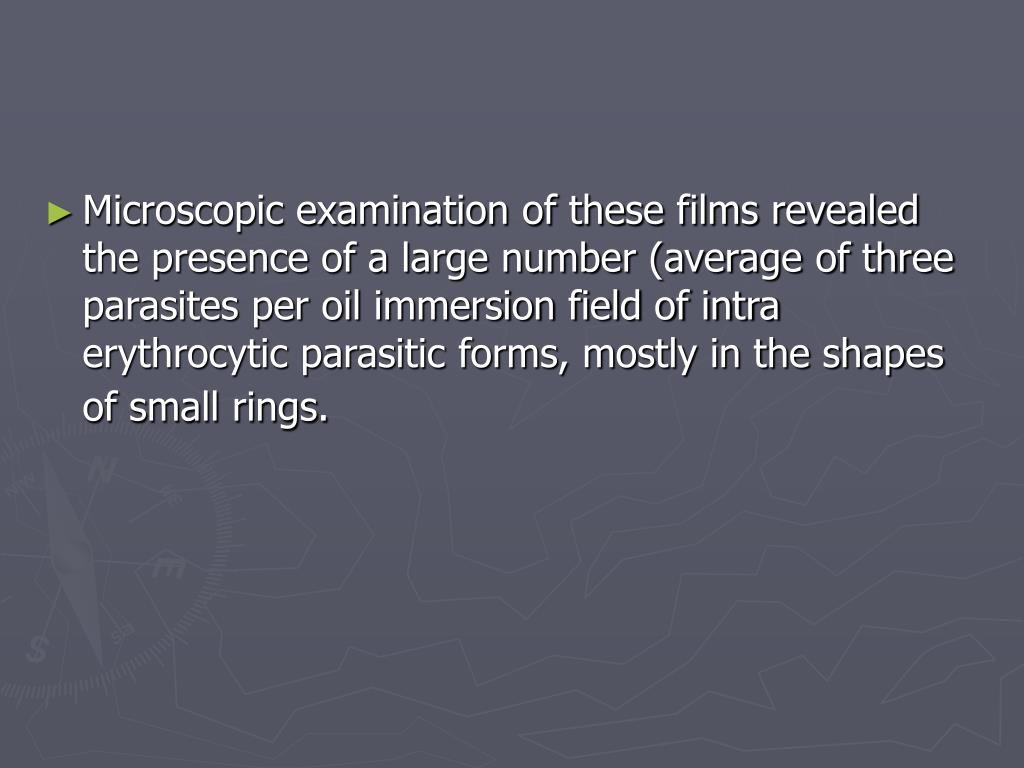 Microscopic examination of these films revealed the presence of a large number (average of three parasites per oil immersion field of intra erythrocytic parasitic forms, mostly in the shapes of small rings.
