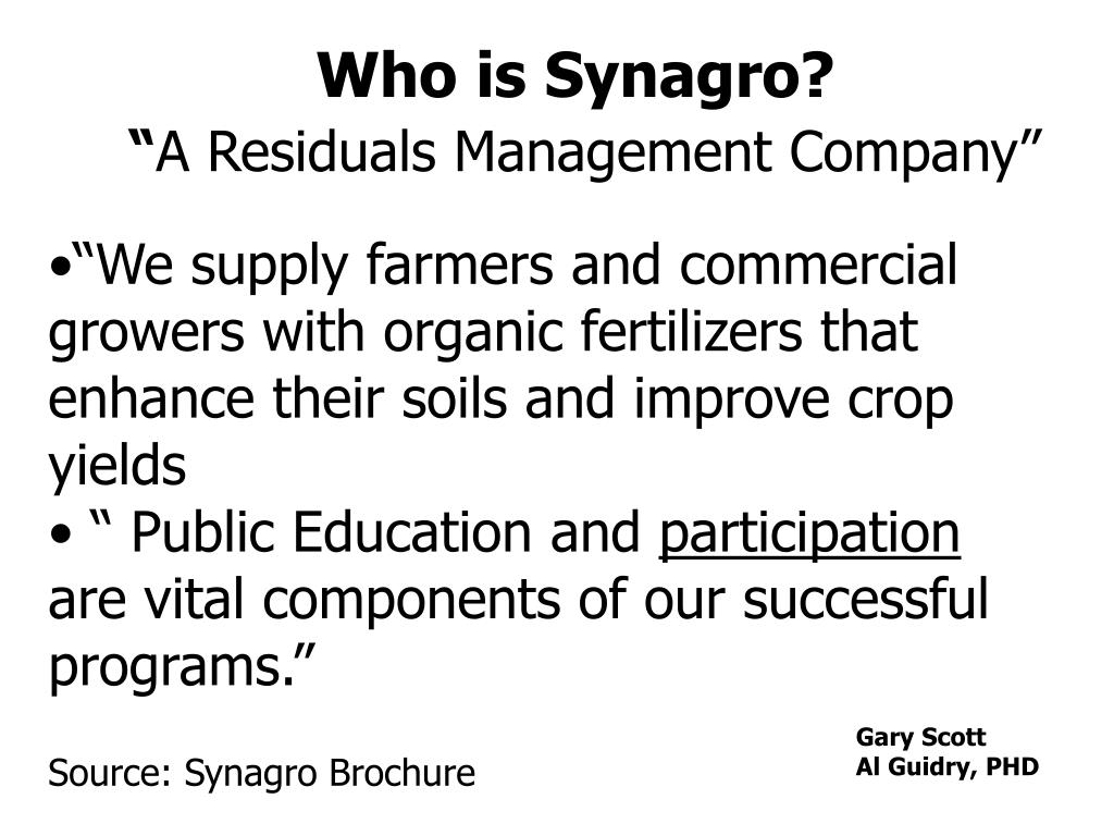 Who is Synagro?