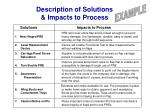 description of solutions impacts to process