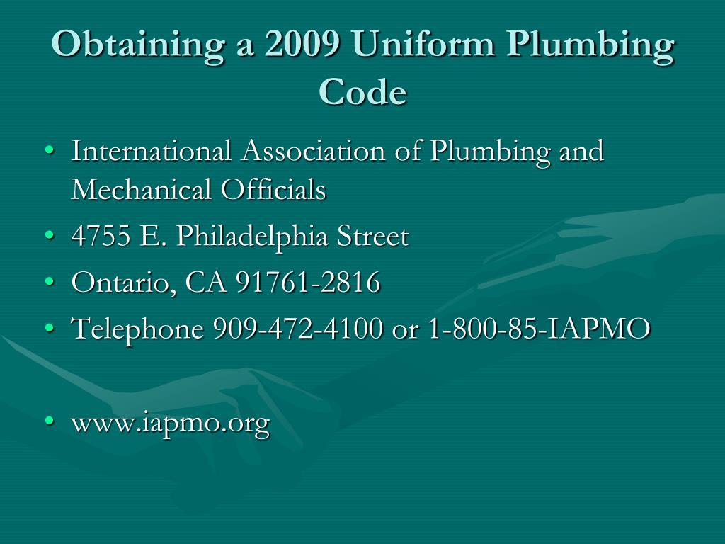 Obtaining a 2009 Uniform Plumbing Code