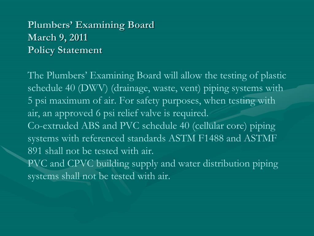 Plumbers' Examining Board