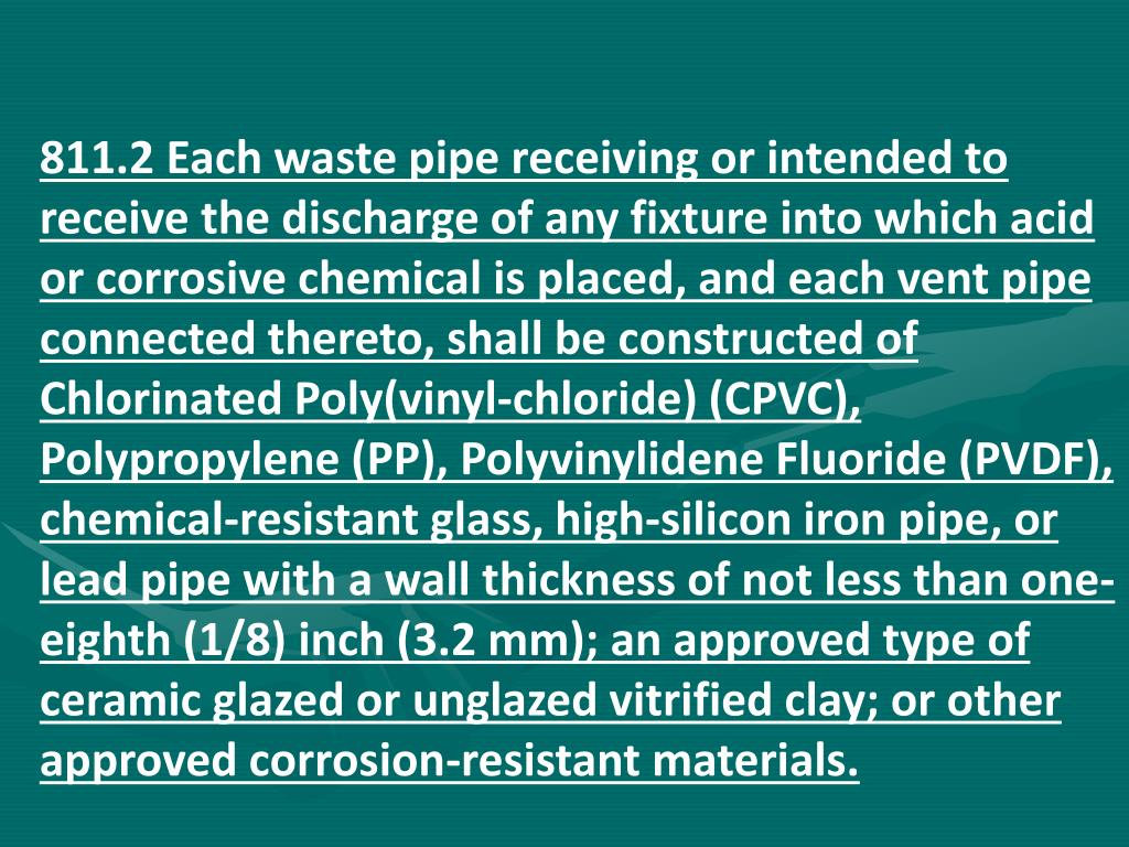 811.2 Each waste pipe receiving or intended to