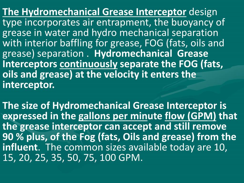 The Hydromechanical Grease Interceptor