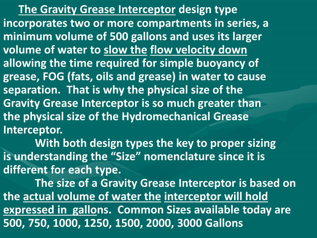 The Gravity Grease Interceptor