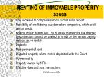 renting of immovable property issues