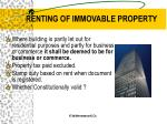 renting of immovable property