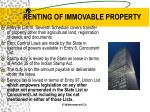 renting of immovable property22