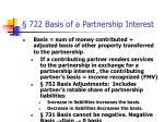 722 basis of a partnership interest