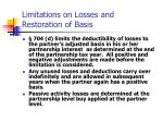 limitations on losses and restoration of basis