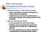 other partnership formation contribution issues