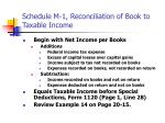 schedule m 1 reconciliation of book to taxable income
