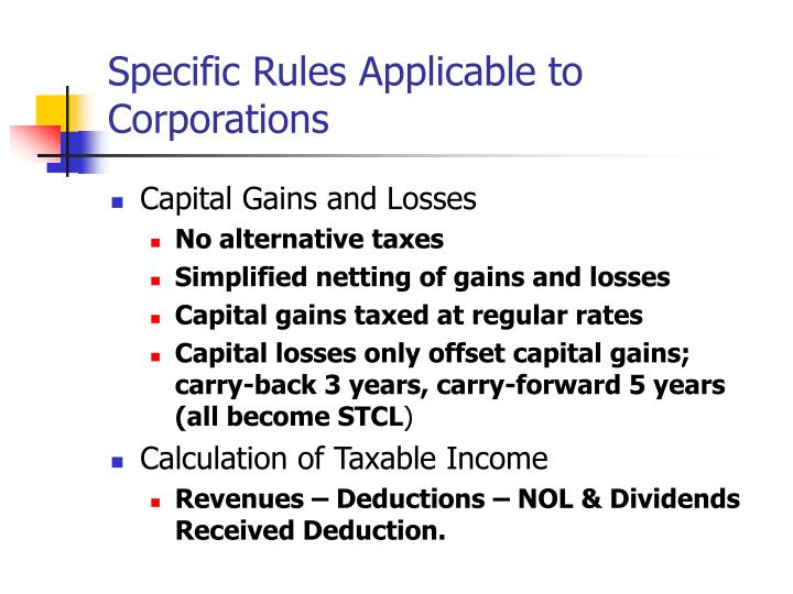 specific rules applicable to corporations n.