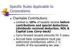 specific rules applicable to corporations3