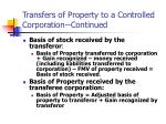 transfers of property to a controlled corporation continued