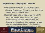 applicability geographic location