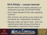 sca pitfalls lesson learned