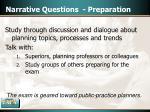 narrative questions preparation