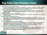 top picks from previous years