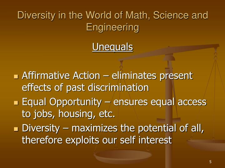 affirmative action equal opportunity or discrimination Mission statement the mission of the department of equal employment & affirmative action (eeaa) is to affirm and promote the university's commitment to non-discrimination, equal employment, affirmative action, and advocate the rights of all individuals to equal opportunity in all aspects of employment without regard to race.