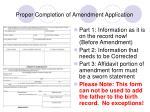 proper completion of amendment application