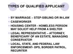 types of qualified applicant