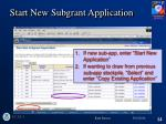start new subgrant application