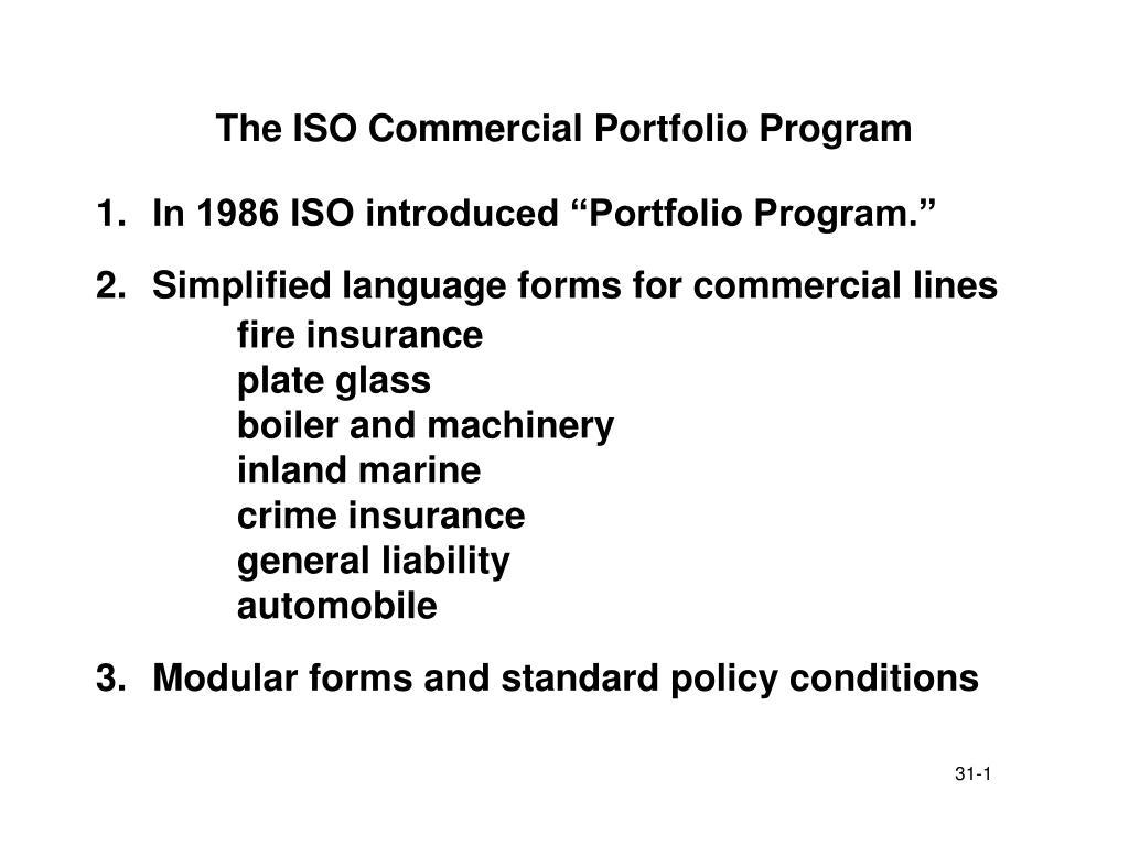 the iso commercial portfolio program l.